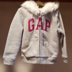 NWOT Gap Sweater Jacket Sherpa Bodice & Hood 3T